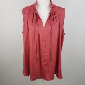 Loft Lg sleeveless top blouse shirt tank tassels